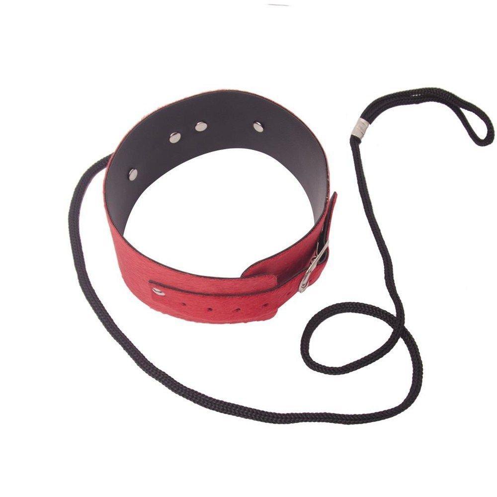 Coleira Verniz com guia estirante - Vermelho