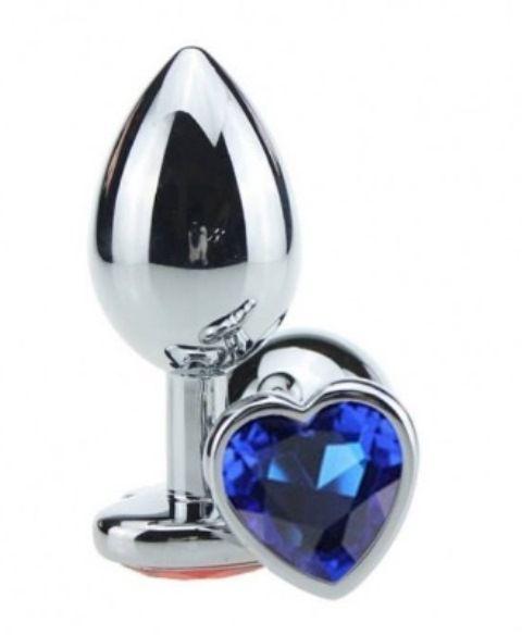 Plug Anal Cristal Coração  P Azul