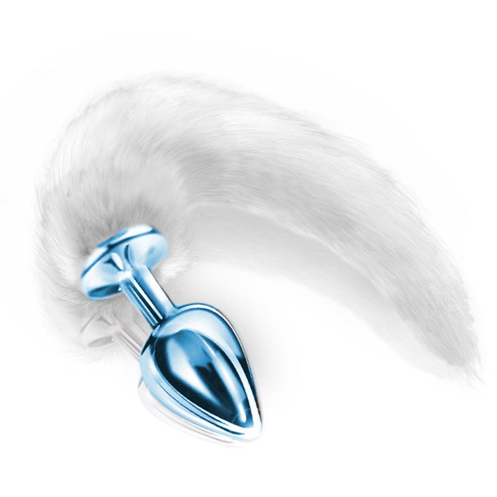 Plug Anal Cromado Cauda Raposa Branco