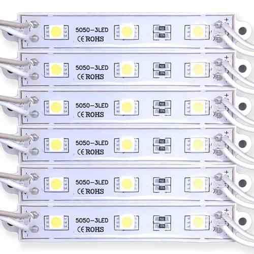 Módulo LED 5050 SMD 3 LEDs Ip65 Prova D'água 12v Branco Frio