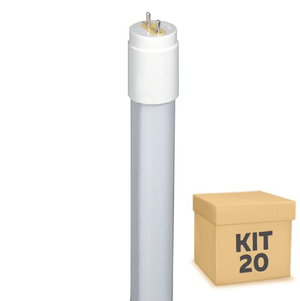 Kit 20 Lâmpadas LED T8 Tubulares 120 cm 18w Branco Frio 6000k