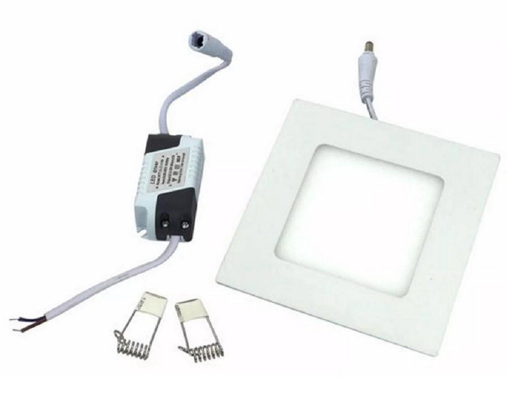 Luminária Plafon LED de Embutir 6w Branco Frio 6000k Quadrado