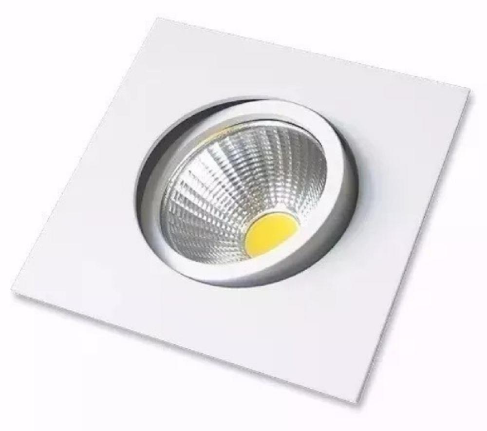 Luminária Spot LED COB de Embutir 7w Branco Quente 3000k Quadrado