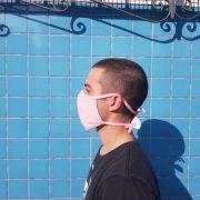 Kit 5 Mascara Tecido Lavável Alça Ajustavél Dupla Proteção Não Descartavel Rosa
