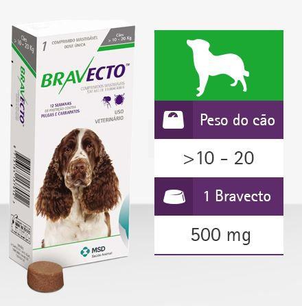 Antipulgas e Carrapatos Bravecto MSD para Cães de 10 a 20 kg
