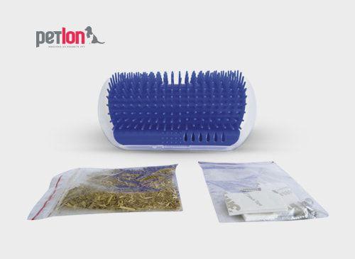 Auto Escova De Parede Para Gatos Azul - Petlon