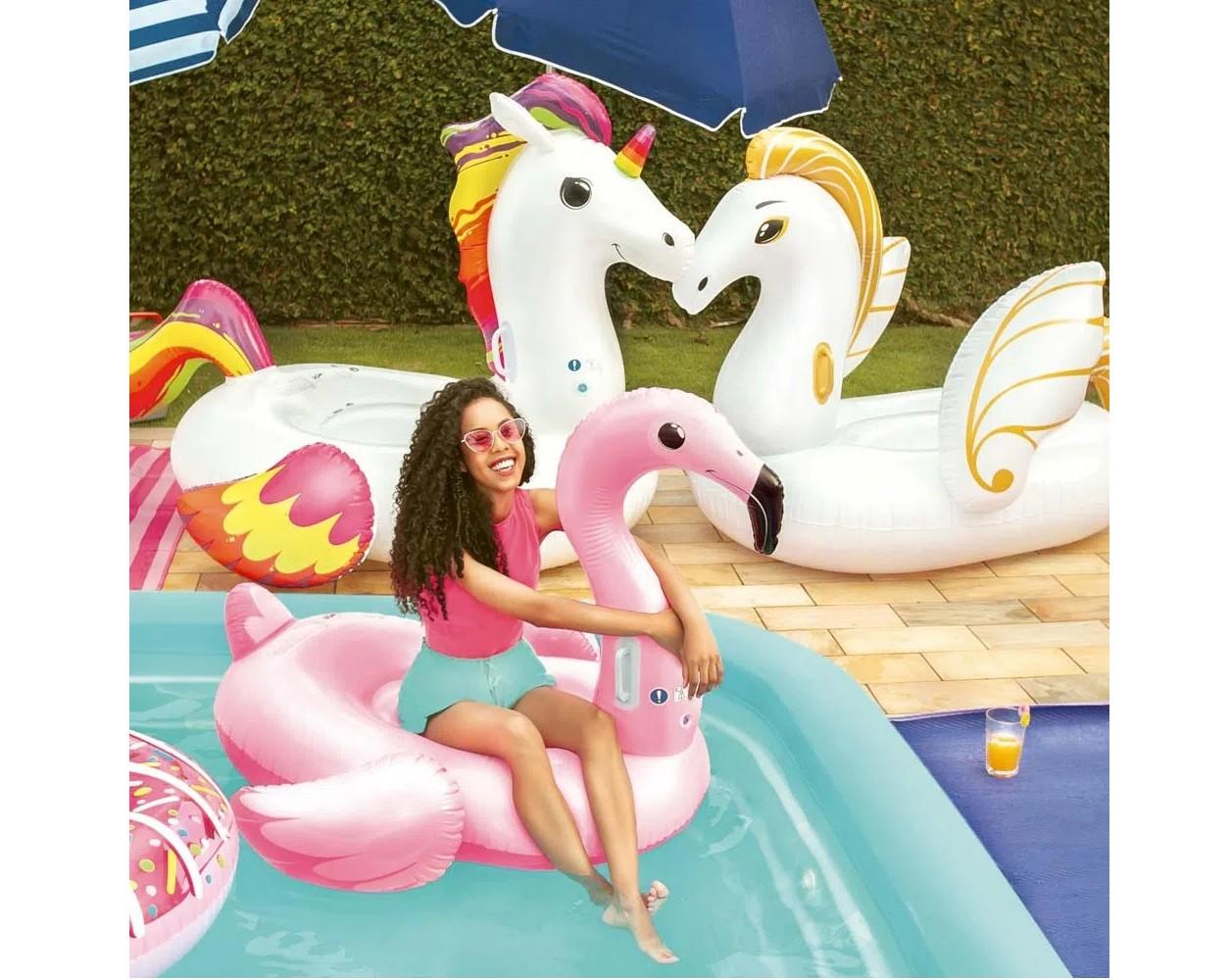 Boia Colchão Inflável Gigante P/ Piscina Flamingo - Mor