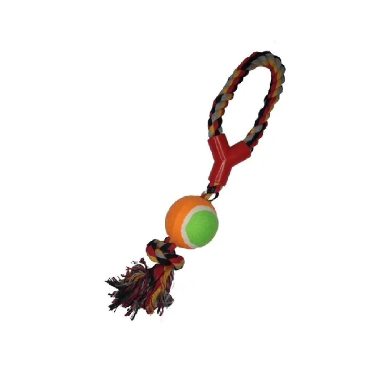 Brinquedo Cães Mordedor Forca Com Bola De Tenis Chalesco