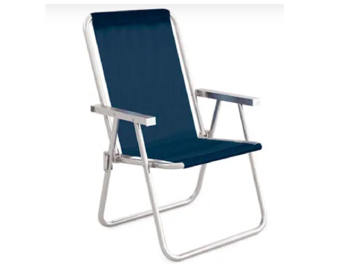 Cadeira  de Praia Alta Conforto Alumínio Sannet Azul - MOR