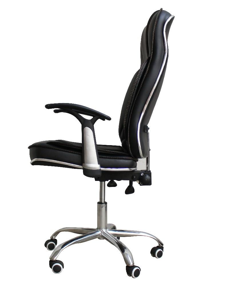 Cadeira Presidente Escritório Preta Couro com Regulagem Altura