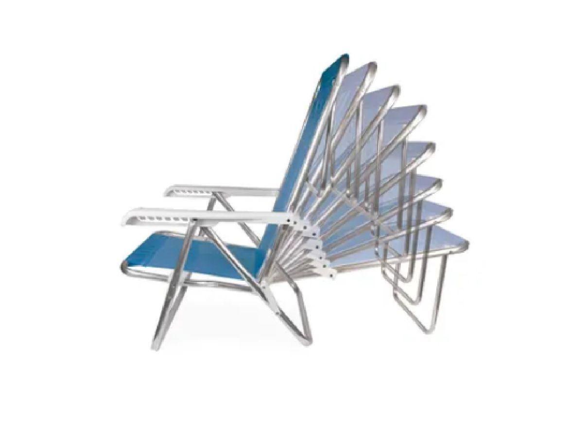 Cadeira de Praia Reclinável 8 posições Azul - MOR