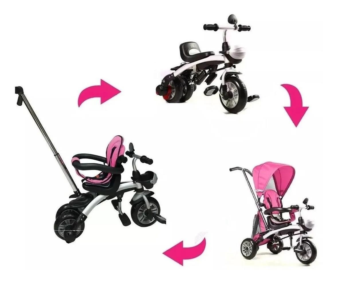 Carrinho Triciclo Bebe Infantil 3 Em 1 Multifuncional Belfix