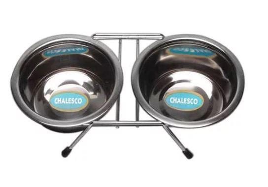 Comedouro Duplo de Inox com Suporte - 950ml - Chalesco