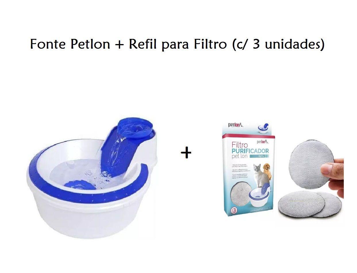 Fonte Bebedouro Petlon Azul - 110v + Refil Filtro Petlon