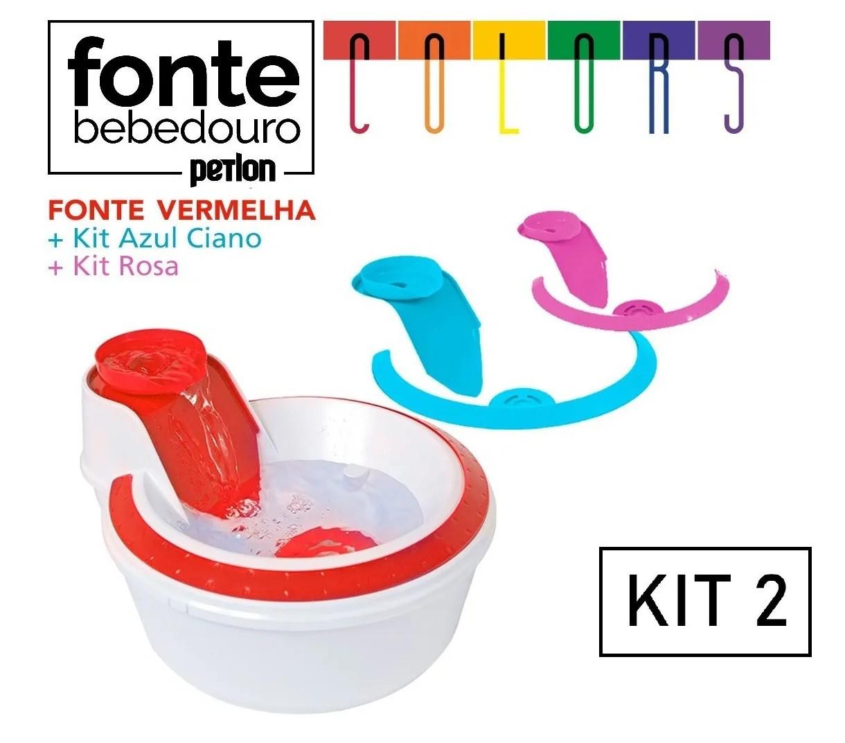 Fonte Bebedouro para Cães e Gatos Petlon Colors - 110v (KIT n2)