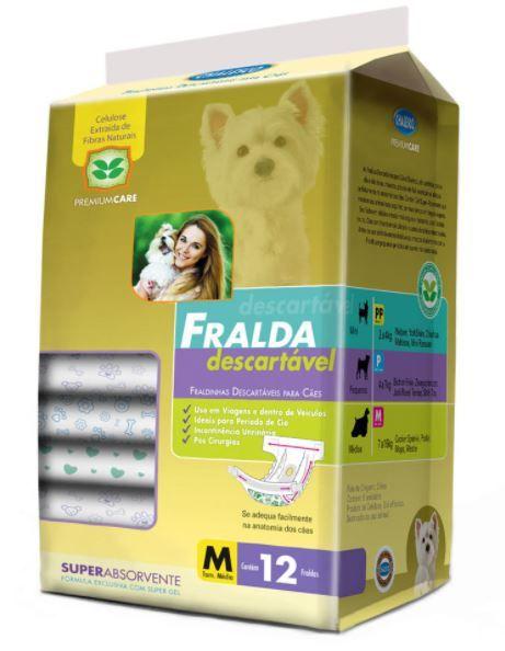 Fralda Descartável para Cachorro - Tam M - Pacote com 12 Unidades