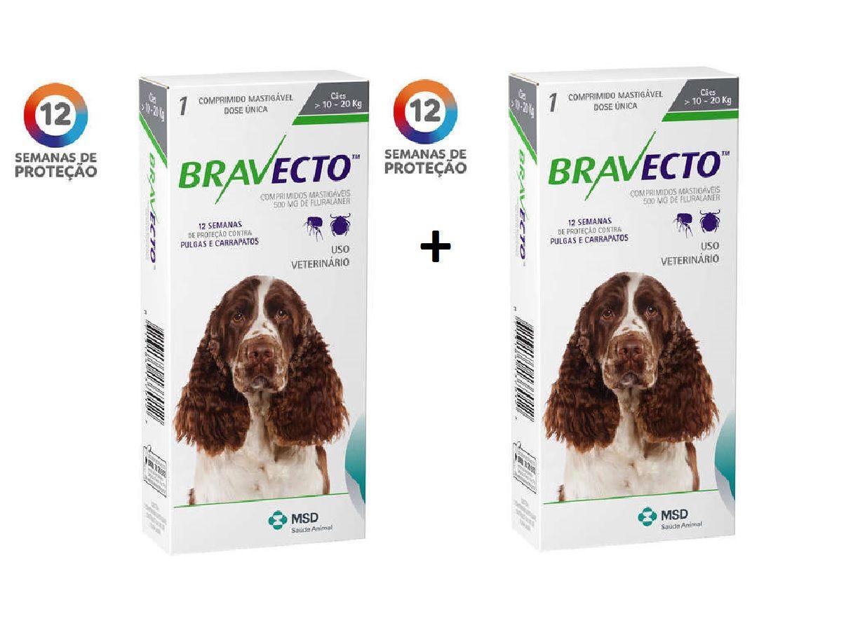 Kit 2 Antipulgas e Carrapatos Bravecto MSD para Cães de 10 a 20 kg