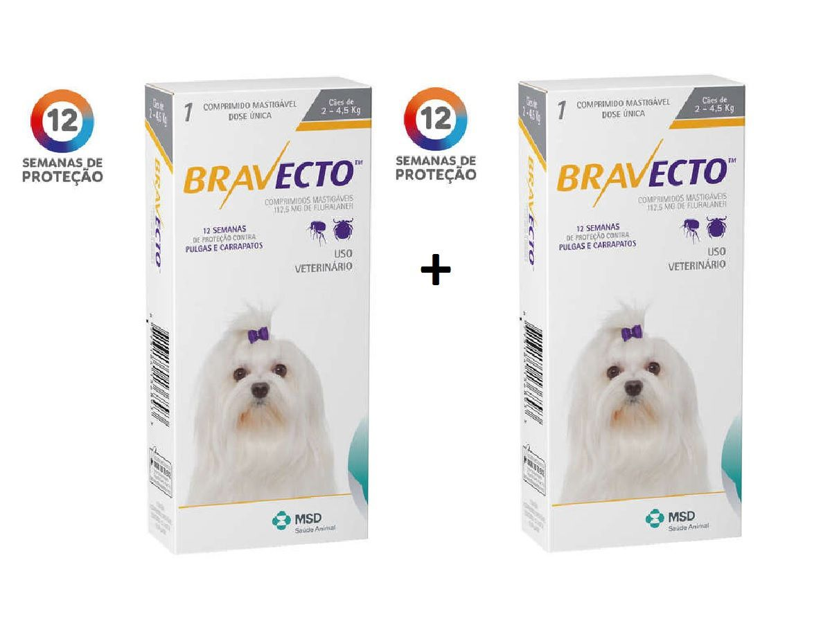 Kit 2 Antipulgas e Carrapatos Bravecto MSD para Cães de 2 a 4,5 kg