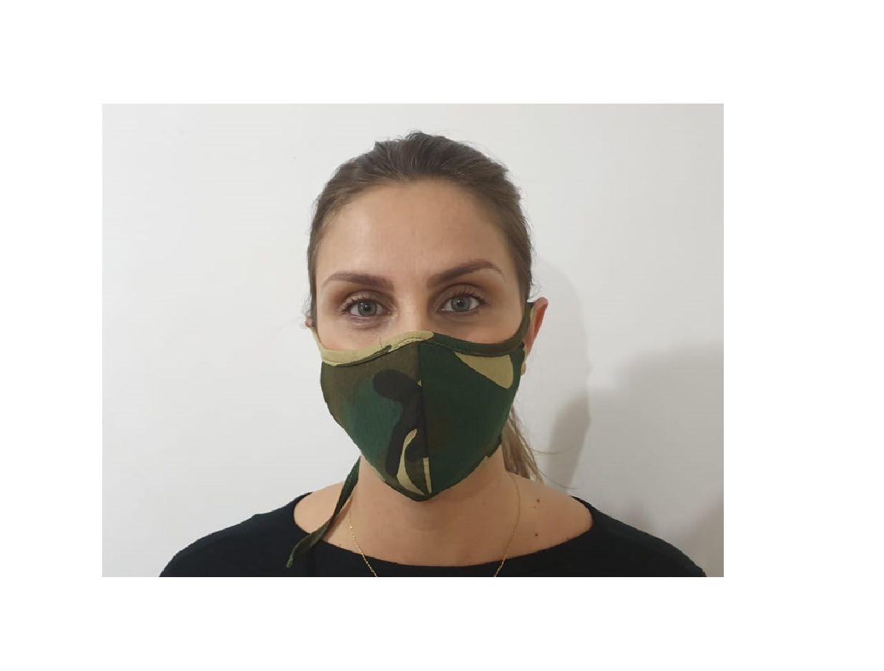 Kit 3 Máscara Dupla Camada Tecido Lavável Alça Ajustavel Camuflada Exército Verde
