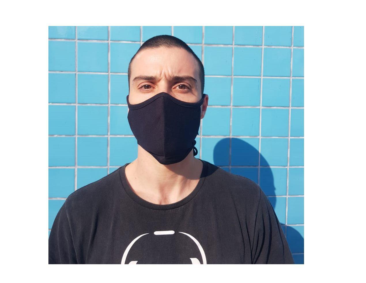 Kit 3 Máscara Tecido Lavável Alça Ajustavél Dupla Proteção Não Descartavel Preta