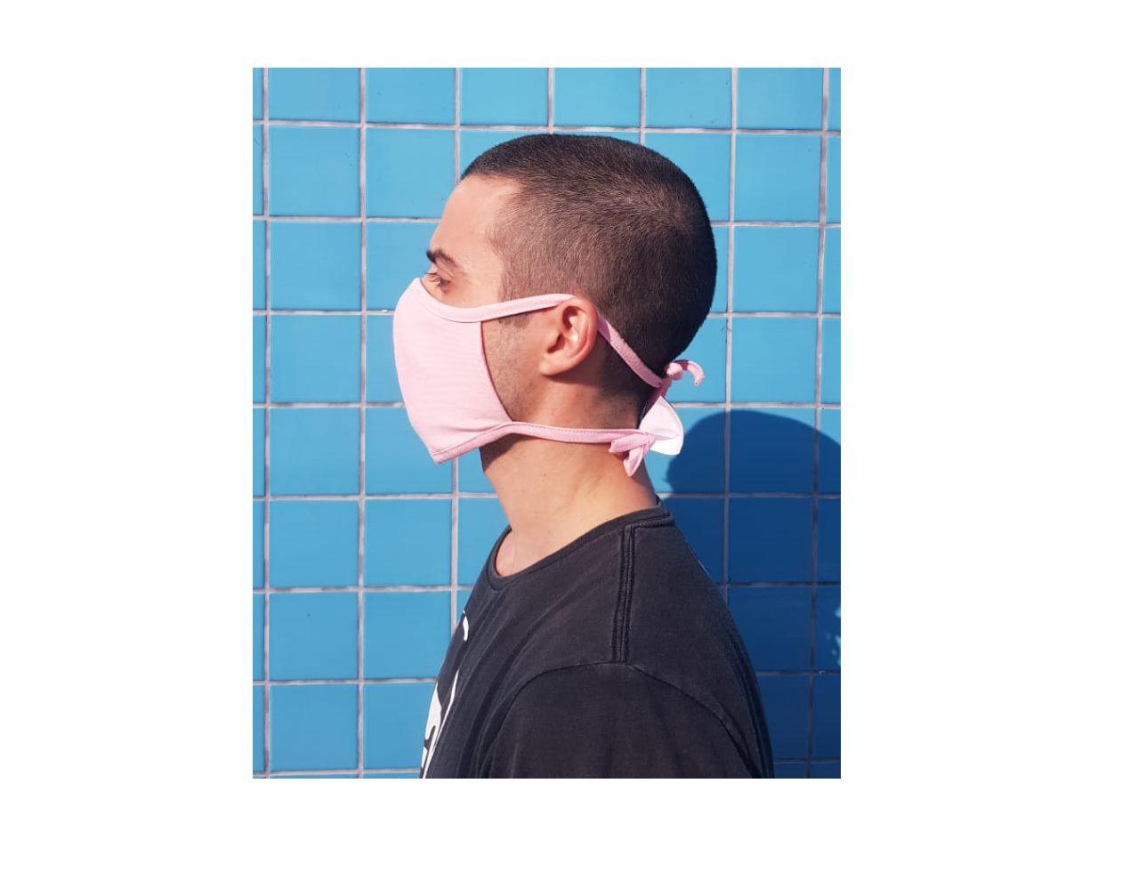 Kit 3 Mascara Tecido Lavável Alça Ajustavél Dupla Proteção Não Descartavel Rosa