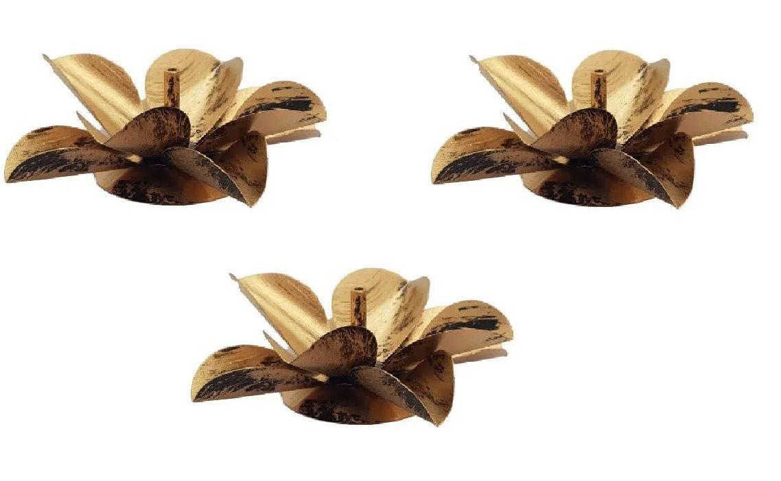 Kit 3 Porta Incenso Incensário Metal Flor De Lotus Dourado
