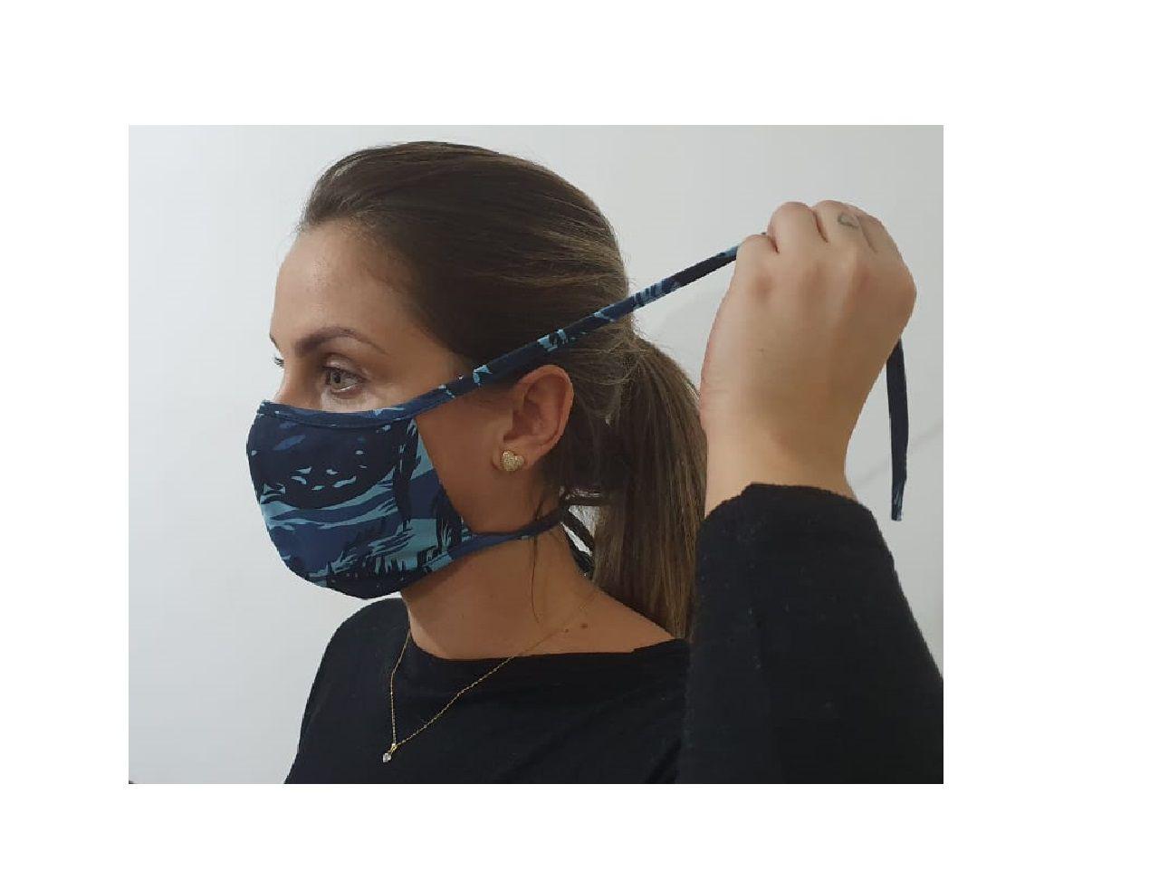 Kit 5 Máscara Dupla Camada Tecido Lavável Alça Ajustavel Camuflada Exército Azul
