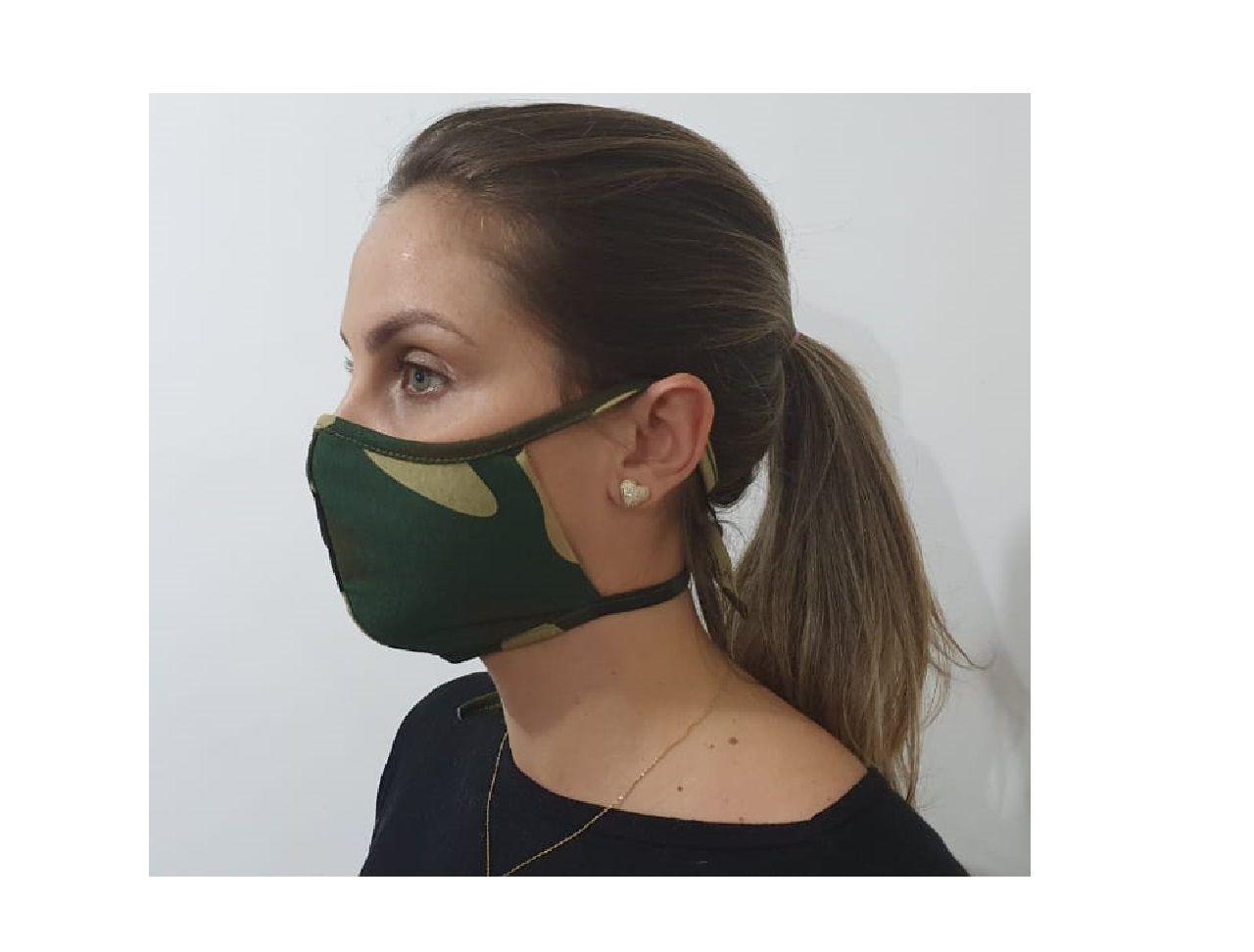 Kit 5 Máscara Dupla Camada Tecido Lavável Alça Ajustavel Camuflada Exército Verde