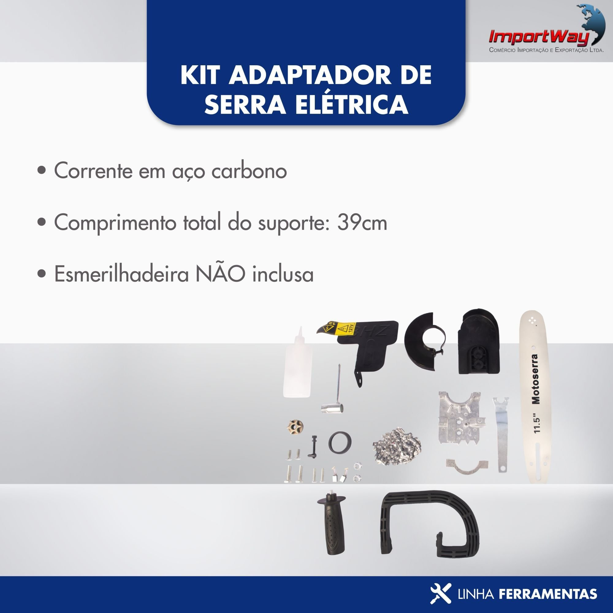 Kit Adaptador De Serra Elétrica Motosserra Universal - Importway