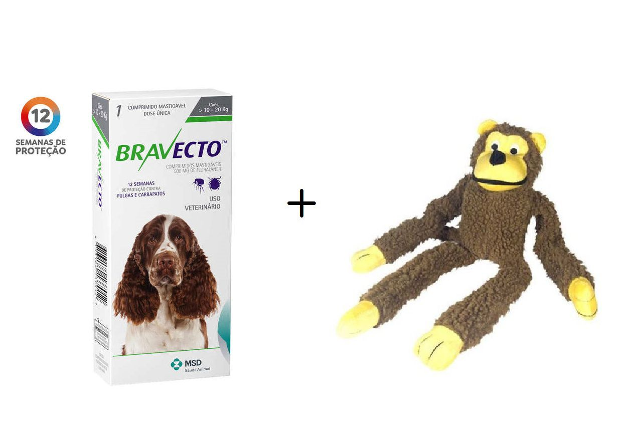 Kit Antipulgas Bravecto De 10 A 20 Kg - Val.07/20 + Brinquedo Macaco Pelúcia