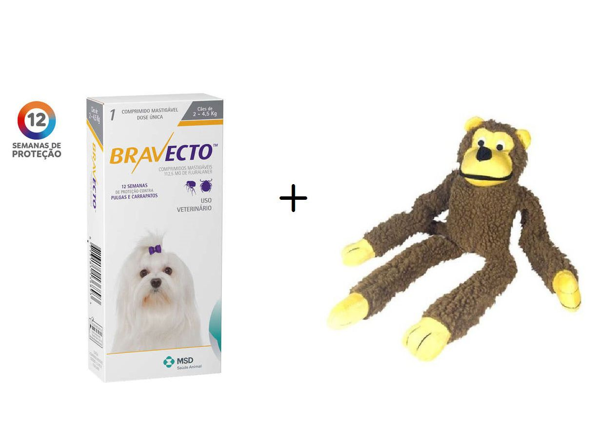 Kit Antipulgas Bravecto de 2 A 4,5 Kg -val.07/20 + Brinquedo Macaco de Pelúcia