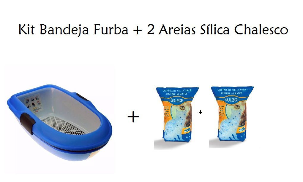 Kit Bandeja Furba Azul + 2 Areias Sílica Chalesco