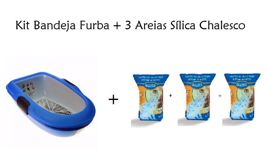 Kit Bandeja Furba Azul + 3 Areias Sílica Chalesco