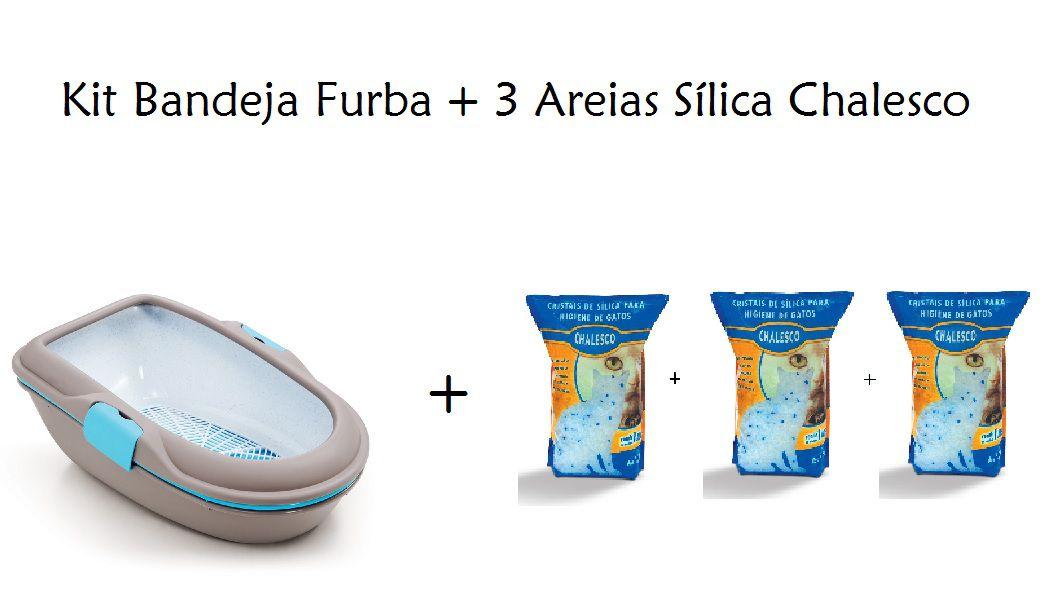 Kit Bandeja Furba Cinza + 3 Areias Sílica Chalesco