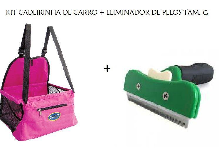 Kit Cadeirinha de Carro Car Seat Rosa + Eliminador de Pelos Tam. G