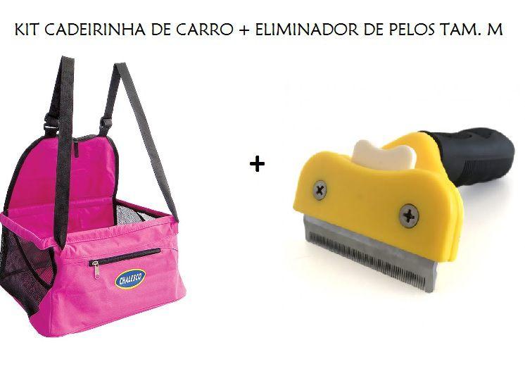 Kit Cadeirinha de Carro Car Seat Rosa + Eliminador de Pelos Tam. M