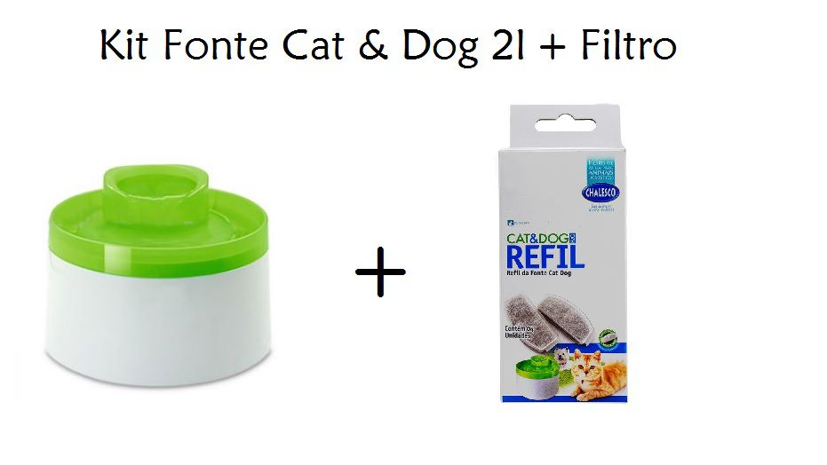 Kit Fonte Bebedouro Cat & Dog 110v Chalesco  + Refil de Filtro