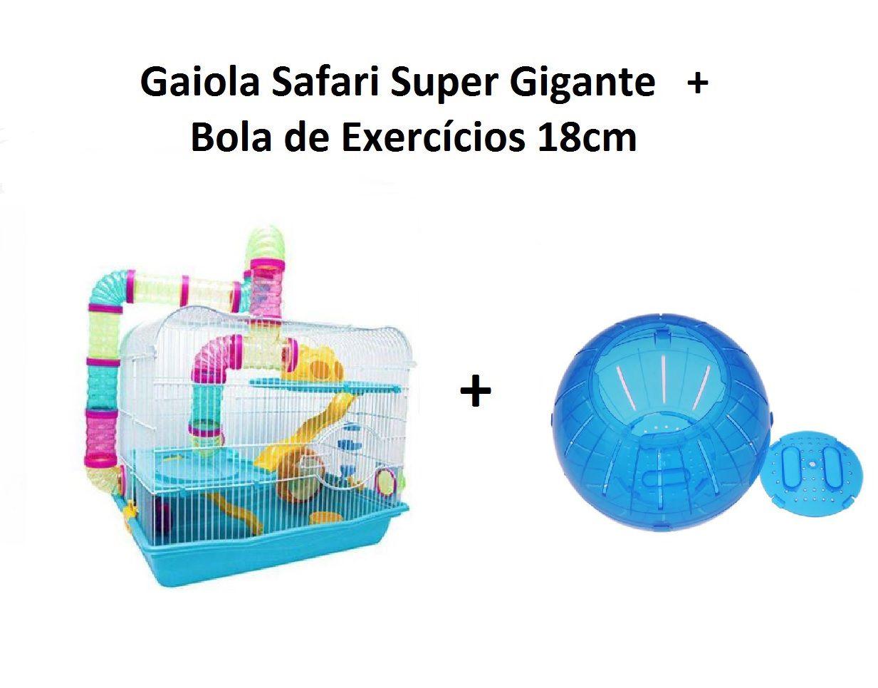 Kit Gaiola Safari Super Gigante Azul + Bola de Exercícios 18cm Azul
