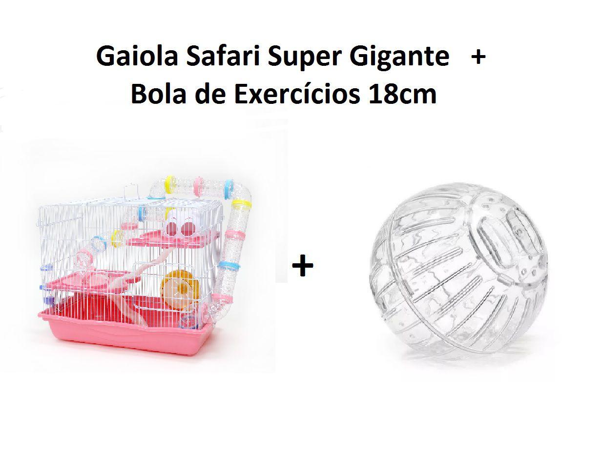 Kit Gaiola Safari Super Gigante Rosa + Bola de Exercícios 18cm