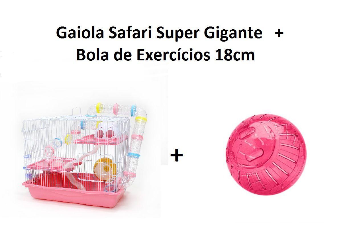 Kit Gaiola Safari Super Gigante Rosa + Bola de Exercícios 18cm Rosa