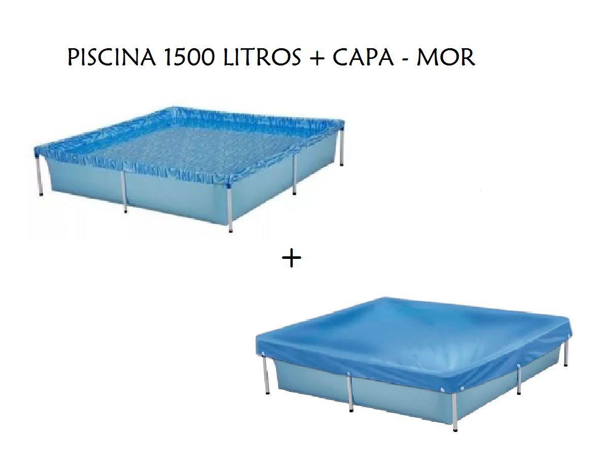 Kit Piscina Infantil Retangular 1500 Litros Mor + Capa para Piscina