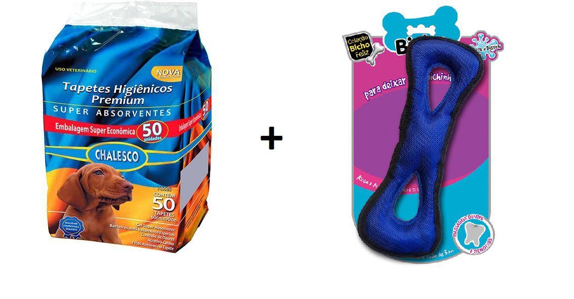 Kit Tapete Higienico 50un + Brinquedo Osso Oxford Chalesco