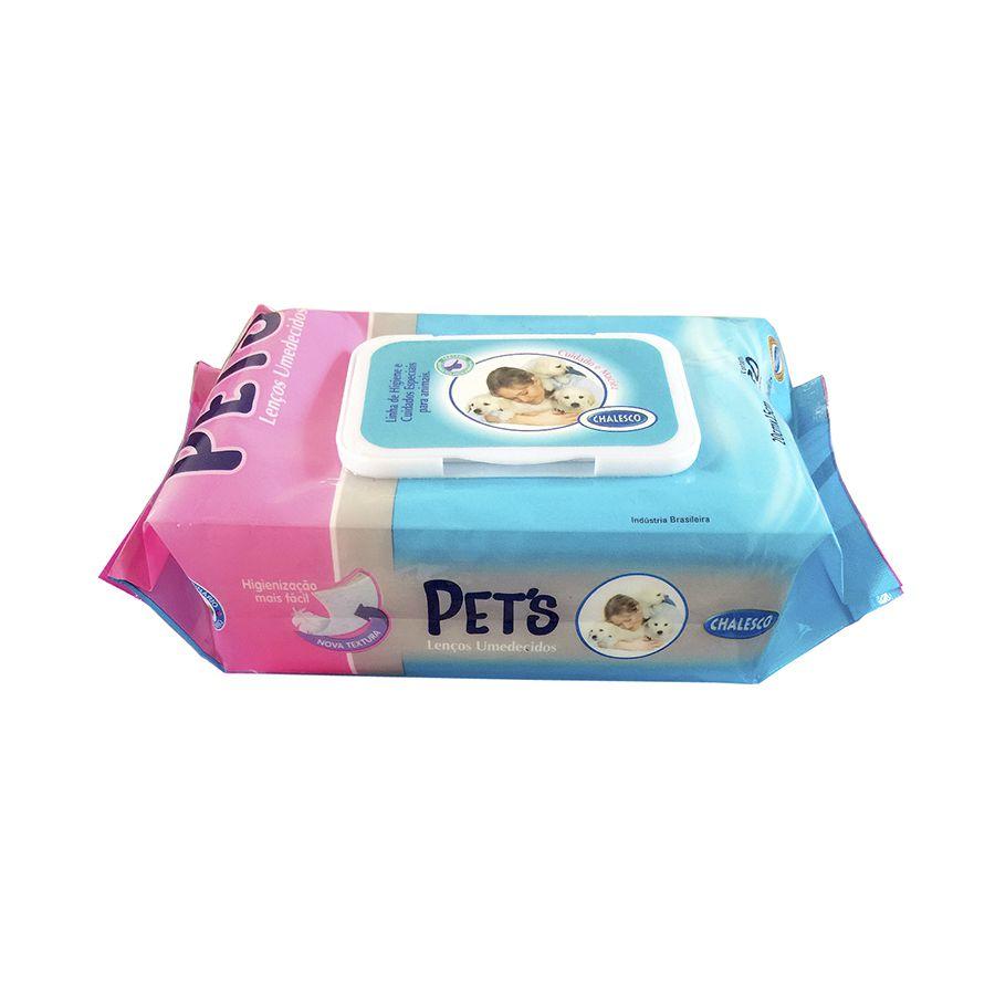 Lenço Umedecidos Pets 80 toalhas - Chalesco