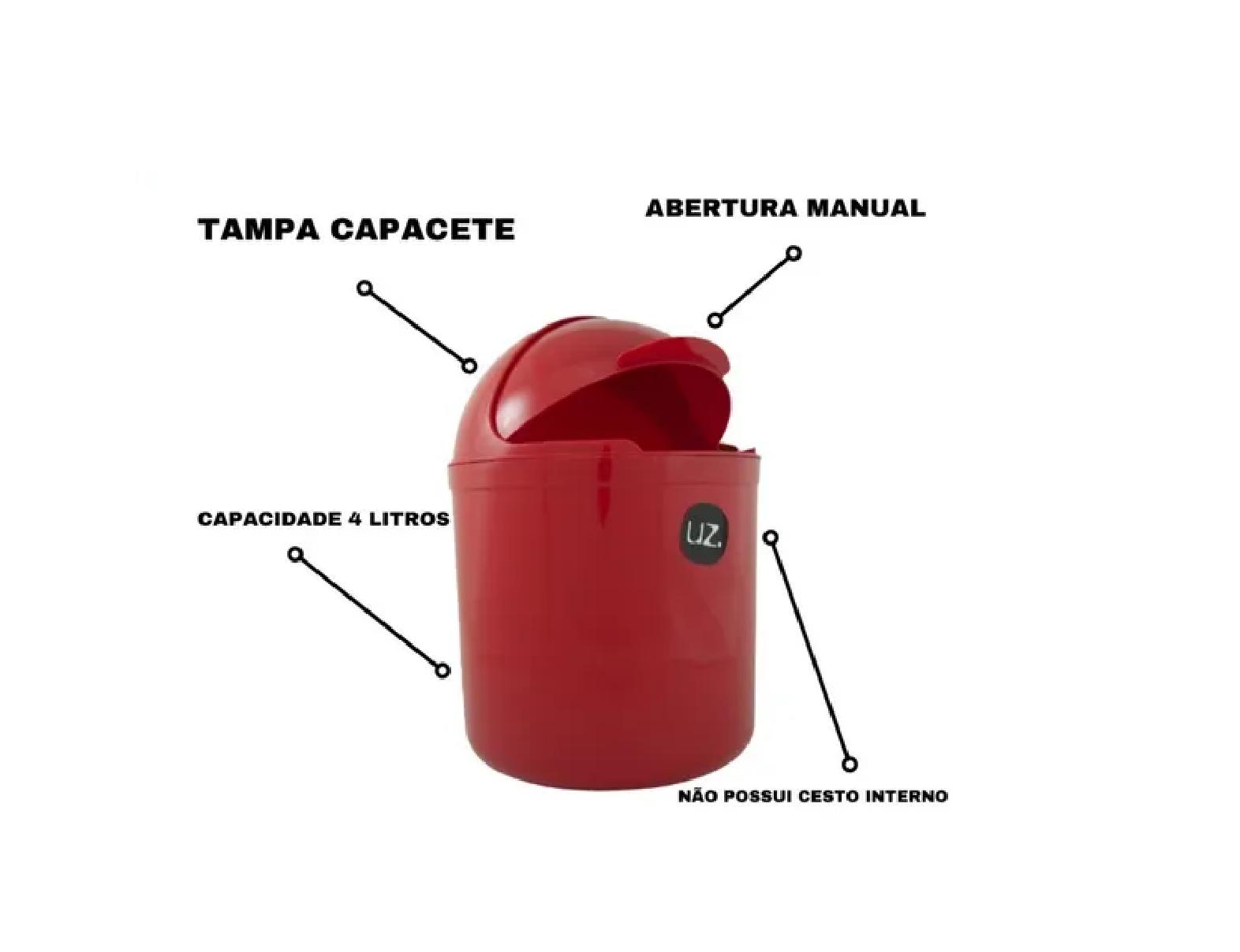Lixeira Plástica De Cozinha Pia Com Tampa Capacete 4l Uz