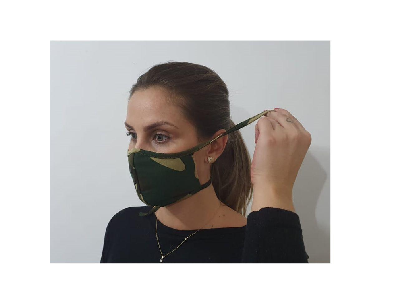 Máscara Dupla Camada Tecido Lavável Alça Ajustavel Camuflada Exército Verde