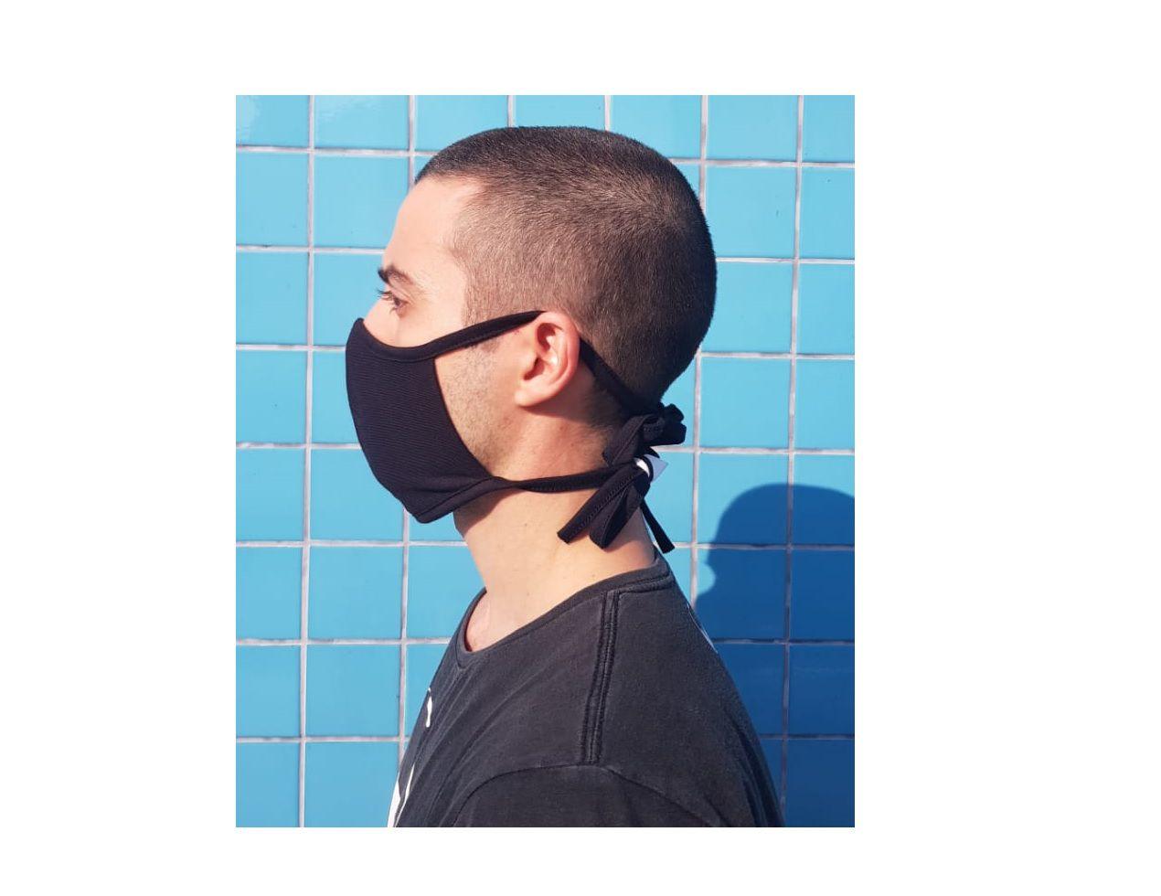 Mascara Tecido Lavável Alça Ajustavél Dupla Proteção Não Descartavel Preta