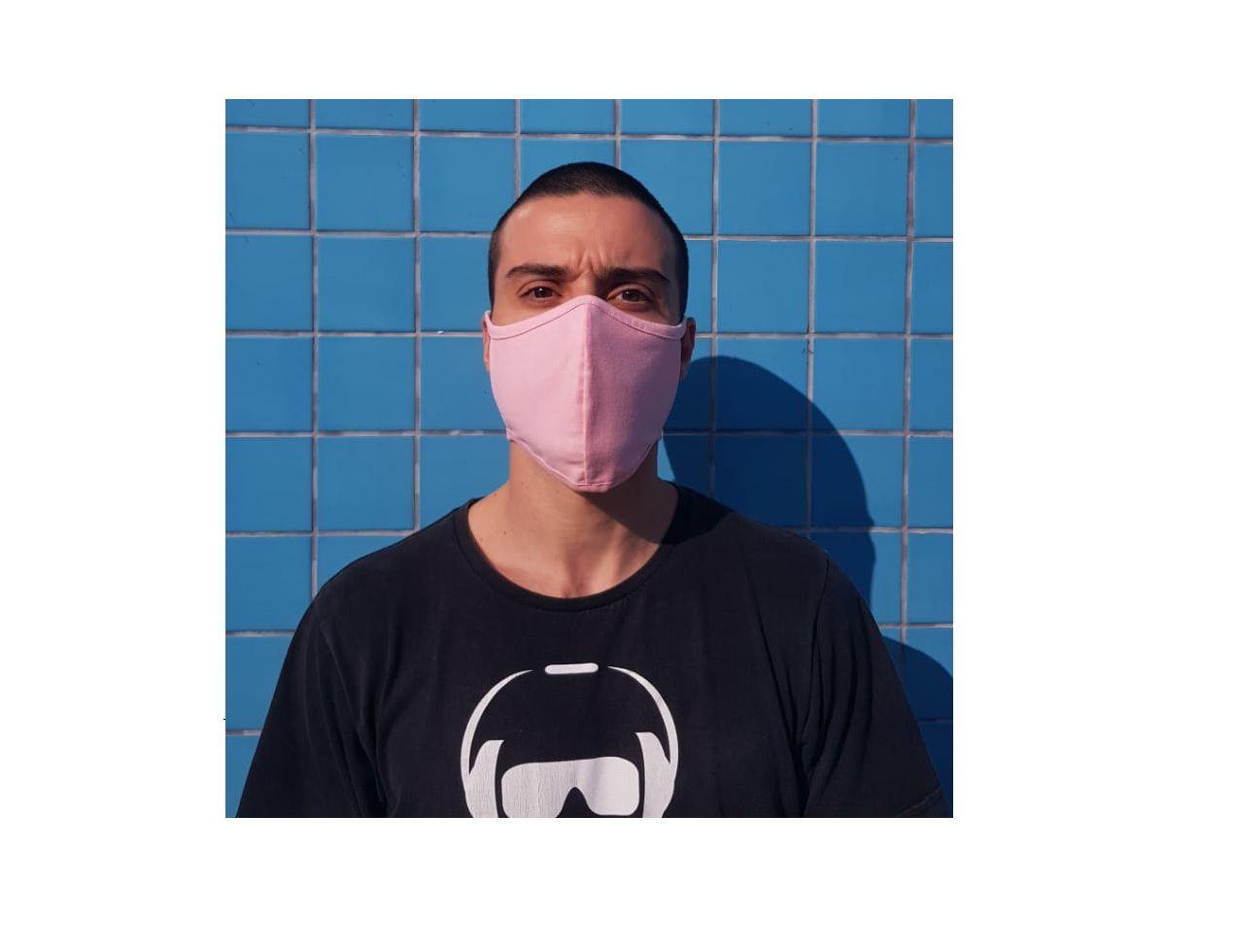 Mascara Tecido Lavável Alça Ajustavél Dupla Proteção Não Descartavel Rosa