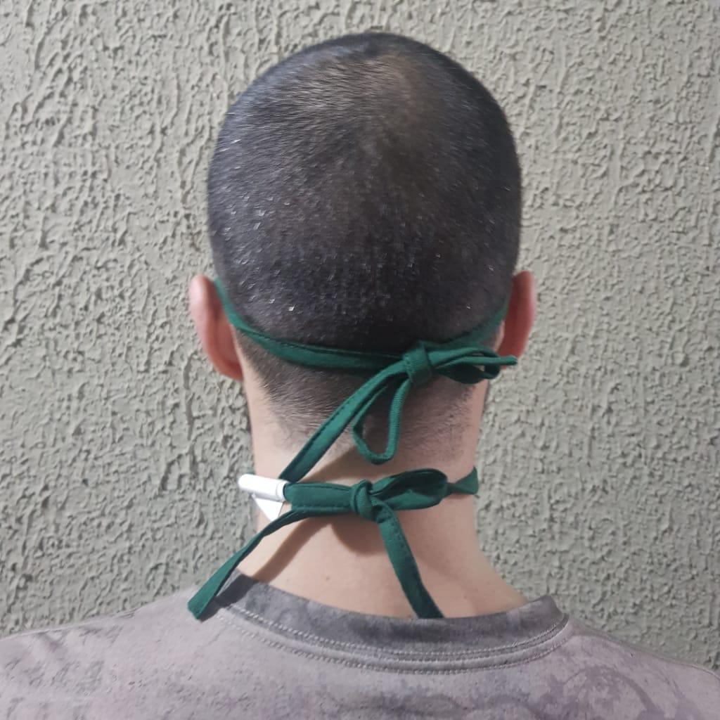 Mascara Tecido Lavável Alça Ajustavél Dupla Proteção Não Descartavel Verde