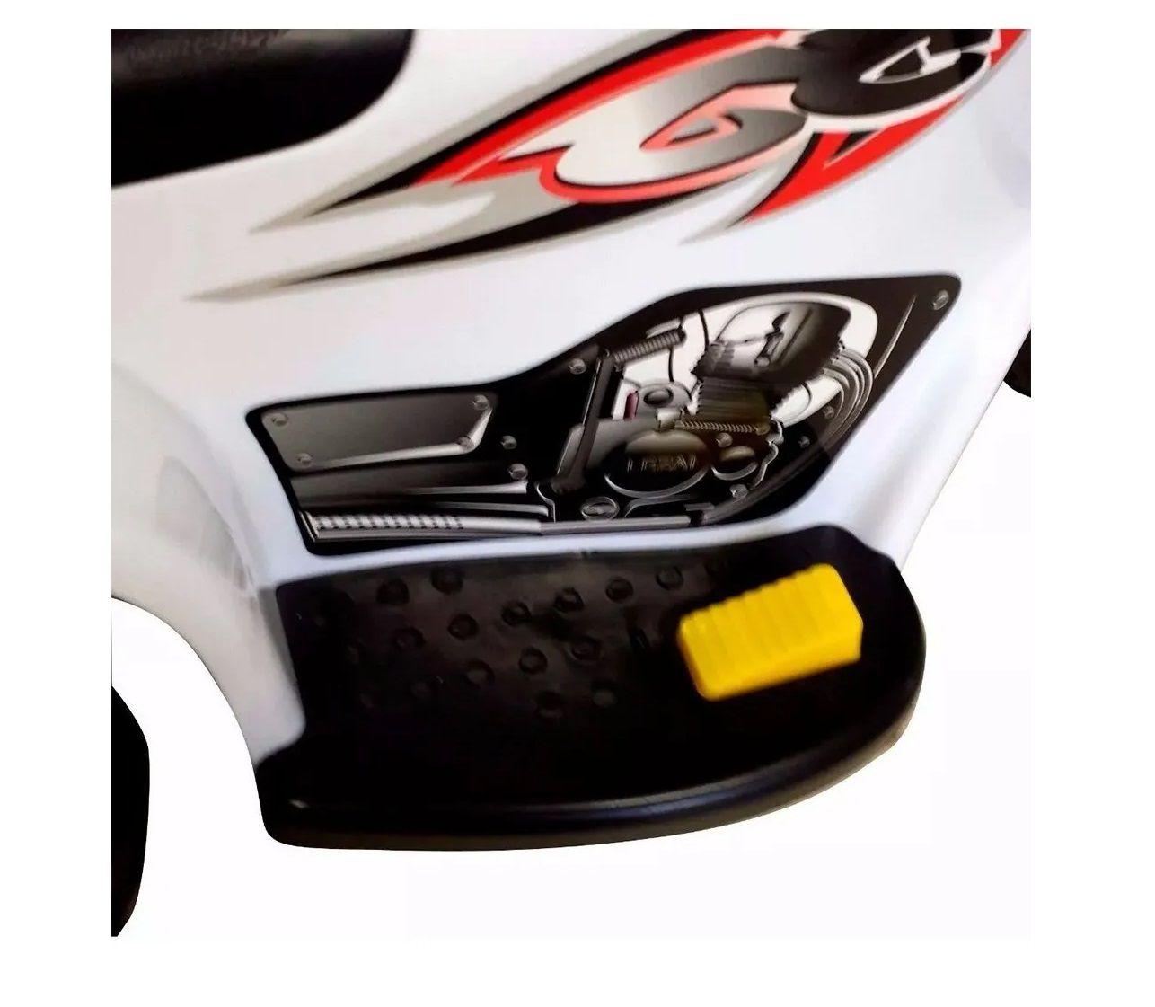 Mini Moto Eletrica Infantil Branca com Som e Luz 6v
