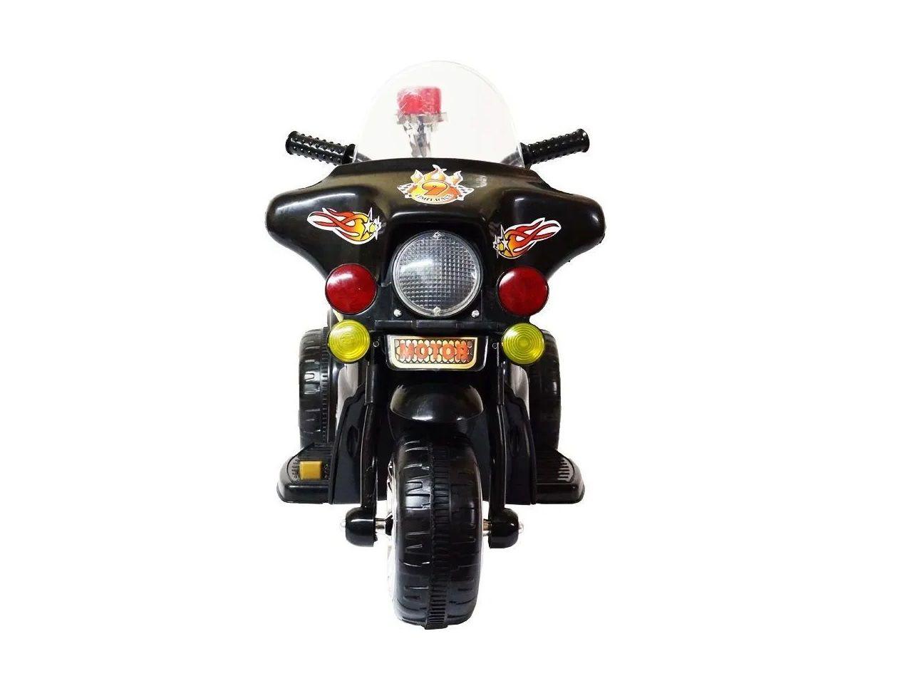 Mini Moto Eletrica Infantil Preta com Som e Luz 6v